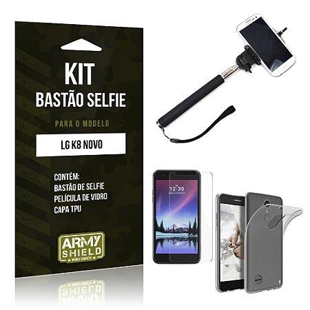 Kit Bastão Selfie  LG K8 Novo Película de Vidro + Tpu + Bastão Selfie   - Armyshield