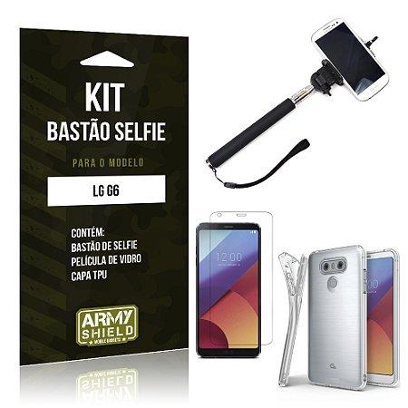 Kit Bastão Selfie  LG G6  Película de Vidro + Tpu + Bastão Selfie  - Armyshield