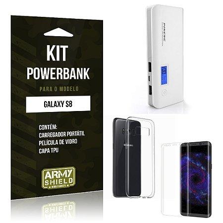 Kit Powerbank  Samsung Galaxy S8  Película de Vidro + Tpu + Powerbank 10000mah - Armyshield