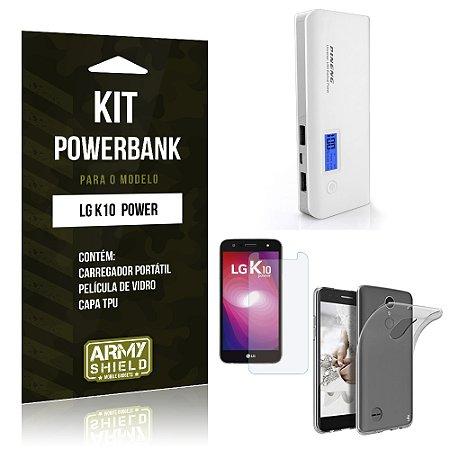 Kit Powerbank  LG K10 Power Película de Vidro + Tpu + Powerbank  10000mah - Armyshield
