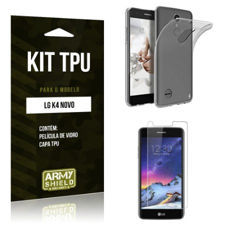 Kit TPU  LG K4 Novo Película de Vidro + TPU Transparente   - Armyshield