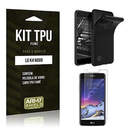 Kit TPU Fumê  LG K4 Novo Película de Vidro + TPU Fumê   - Armyshield