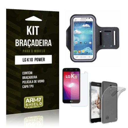 Kit Braçadeira + TPU  LG K10 Power Película de Vidro +  Braçadeira + TPU   - Armyshield
