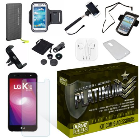 Kit Platinum LG K10 Power com 9 Itens - Armyshield