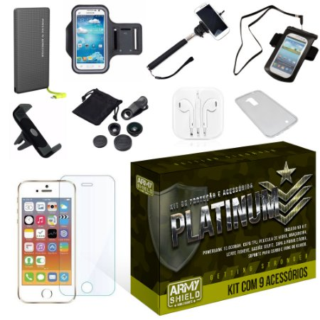 Kit Platinum Apple Iphone 5/5S/5SE com 9 Itens - Armyshield