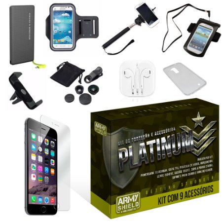 Kit Platinum Apple Iphone 6/6S com 9 Itens - Armyshield