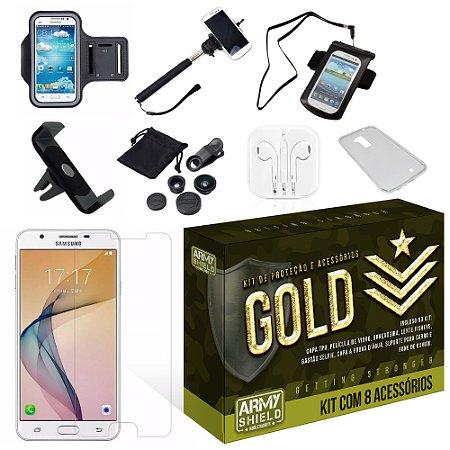 Kit Gold Samsung Galaxy J5 Prime com 8 Itens - Armyshield