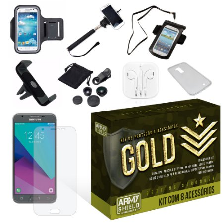 Kit Gold Samsung Galaxy J7 Neo 2017 com 8 Itens - Armyshield
