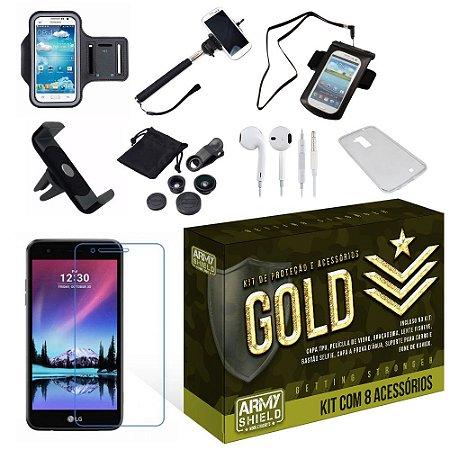 Kit Gold LG K4 2017 com 8 Itens - Armyshield