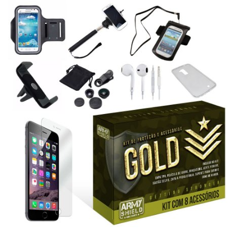 Kit Gold Apple Iphone 6/6S com 8 Itens - Armyshield