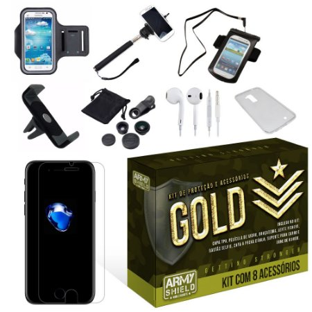 Kit Gold Apple Iphone 7 com 8 Itens - Armyshield