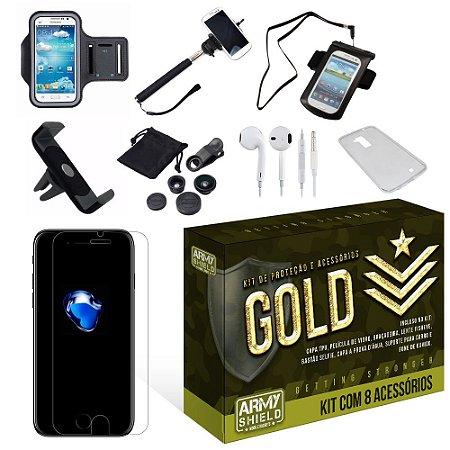 Kit Gold Apple Iphone 7 Plus com 8 Itens - Armyshield