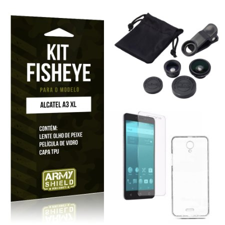 Kit Fisheye Alcatel A3 XL Película de Vidro + Capa Tpu e Lente Olho de Peixe  - Armyshield