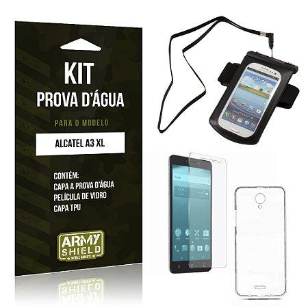 Kit Capa a prova d'agua Alcatel A3 XL Película de Vidro + Tpu + Capa a prova d'agua  - Armyshield