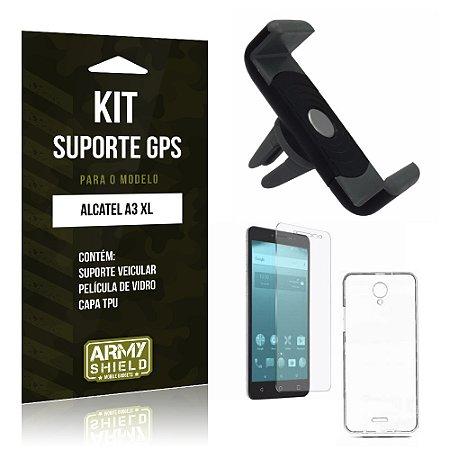 Kit Suporte Veicular  Alcatel A3 XL Película de Vidro + Tpu + Suporte Veicular   - Armyshield