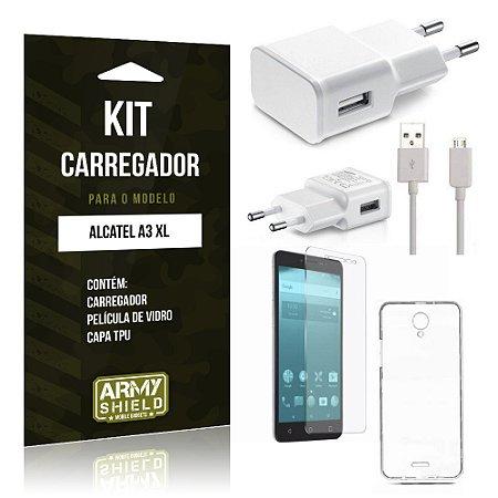 Kit Carregador  Alcatel A3 XL Película de Vidro + Tpu + Carregador   - Armyshield