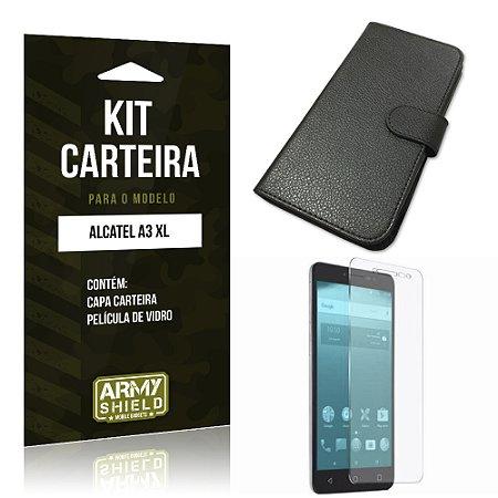 Kit Capa Carteira  Alcatel A3 XL Película de Vidro + Capa Carteira   - Armyshield