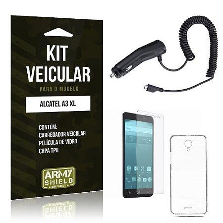 Kit Veicular  Alcatel A3 XL Película de Vidro + Carregador Veicular   - Armyshield