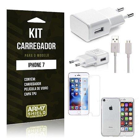 Kit Carregador Iphone 7 Película de Vidro + Capa Tpu + Carregador  -ArmyShield
