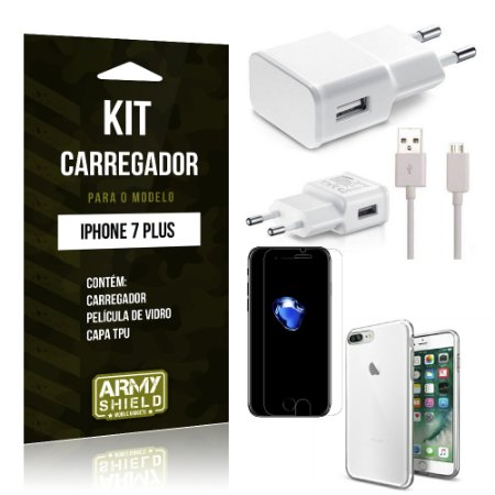 Kit Carregador Iphone 7 plus Película de Vidro + Capa Tpu + Carregador  -ArmyShield