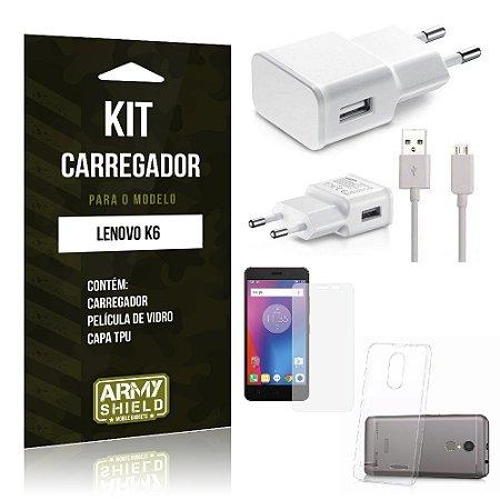 Kit Carregador Lenovo k6 Película de Vidro + Capa Tpu + Carregador  -ArmyShield