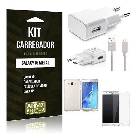 Kit Carregador Samsung j5 prime Película de Vidro + Capa Tpu + Carregador  -ArmyShield