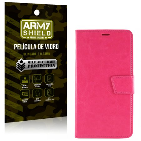 Kit Capa Carteira Rosa + Película de Vidro LG K10 Novo 2017 - Armyshield