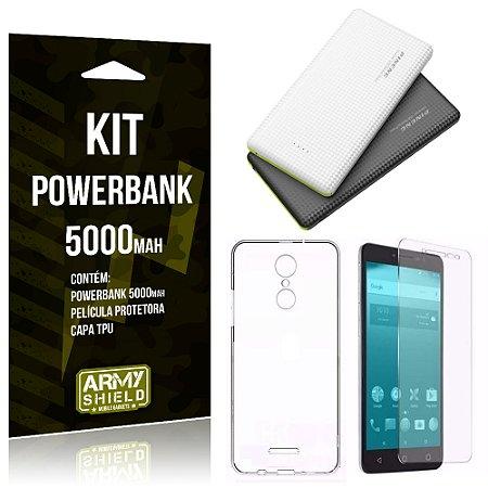 Kit Powerbank 5000 Alcatel A3 XL Powerbank + Película + Capa  - Armyshield