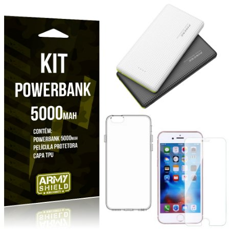 Kit Powerbank 5000 Apple iPhone 7 Powerbank + Película + Capa  - Armyshield