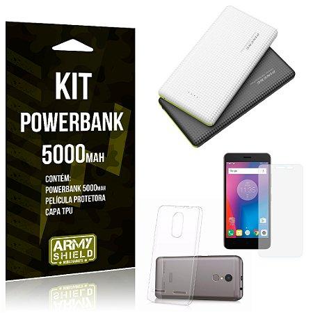 Kit Powerbank 5000 Lenovo K6 Powerbank + Película + Capa  - Armyshield