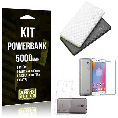 Kit Powerbank 5000 Lenovo K6 Plus Powerbank + Película + Capa  - Armyshield