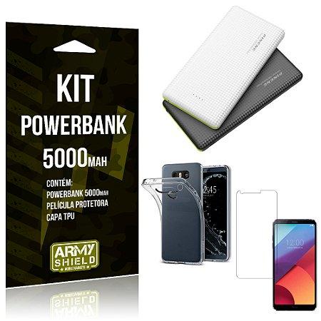 Kit Powerbank 5000 LG G6 Powerbank + Película + Capa  - Armyshield
