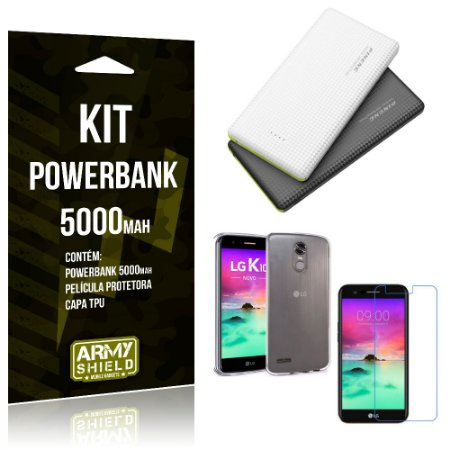 Kit Powerbank 5000 LG K10 Novo Powerbank + Película + Capa  - Armyshield