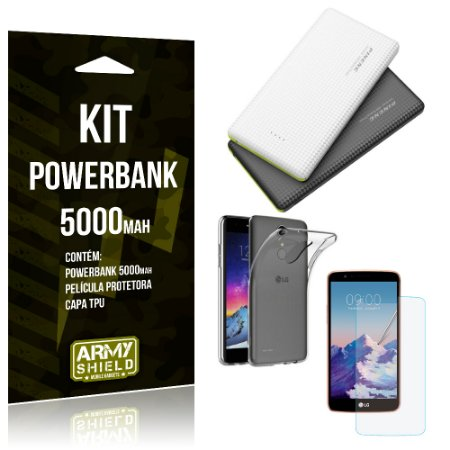 Kit Powerbank 5000 LG K10 Pro Powerbank + Película + Capa  - Armyshield