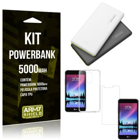 Kit Powerbank 5000 LG K4 Novo Powerbank + Película + Capa  - Armyshield