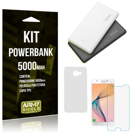 Kit Powerbank 5000 Samsung Galaxy J5 Prime Powerbank + Película + Capa  - Armyshield