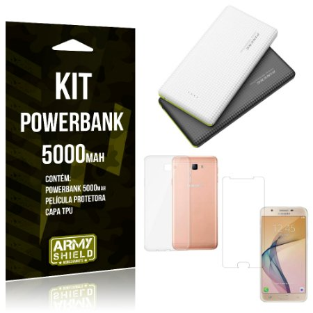 Kit Powerbank 5000 Samsung Galaxy J7 Prime Powerbank + Película + Capa  - Armyshield