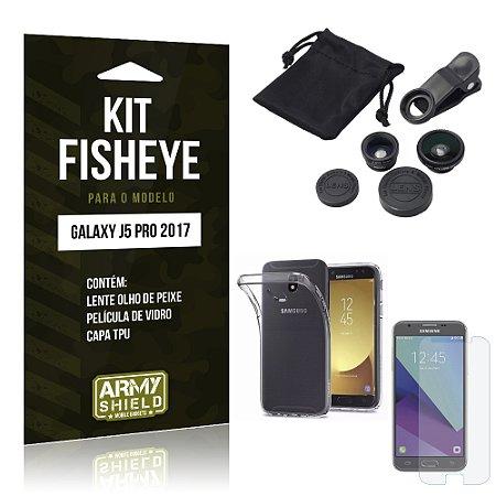 Kit Fisheye Samsung J5 Pro (2017) Película de Vidro + Capa Tpu e Lente Olho de Peixe - Armyshield