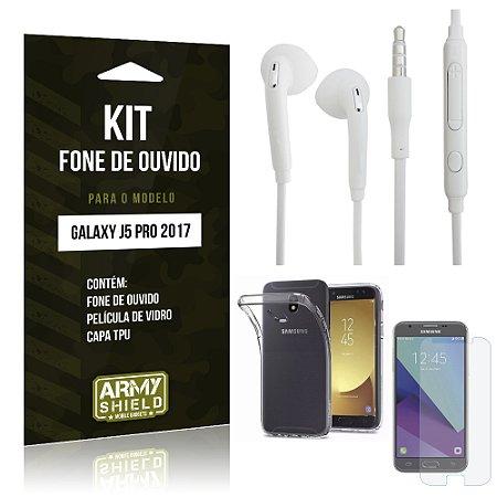 Kit Fone de Ouvido Samsung Galaxy J5 Pro (2017) Película de Vidro + Tpu +Fone de Ouvido - Armyshield