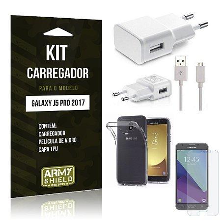Kit Carregador Samsung Galaxy J5 Pro (2017) Película de Vidro + Tpu + Carregador - Armyshield