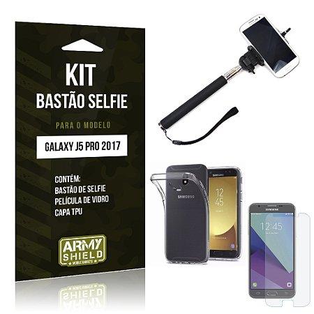 Kit Bastão Selfie Samsung Galaxy J5 Pro (2017) Película de Vidro + Tpu + Bastão Selfie - Armyshield