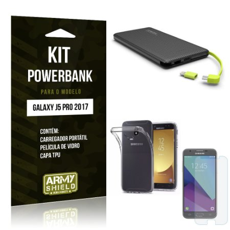 Kit Powerbank Samsung Galaxy J5 Pro (2017) Película de Vidro + Tpu + Powerbank 10000mah - Armyshield