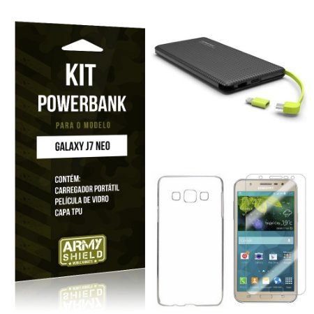 Kit Powerbank Samsung Galaxy J7 Neo Película de Vidro + Tpu + Powerbank 10000mah - Armyshield
