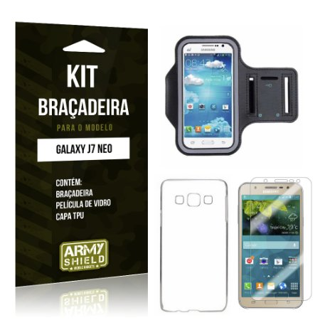 Kit Braçadeira Samsung Galaxy J7 Neo Película de Vidro + Braçadeira + TPU  - Armyshield