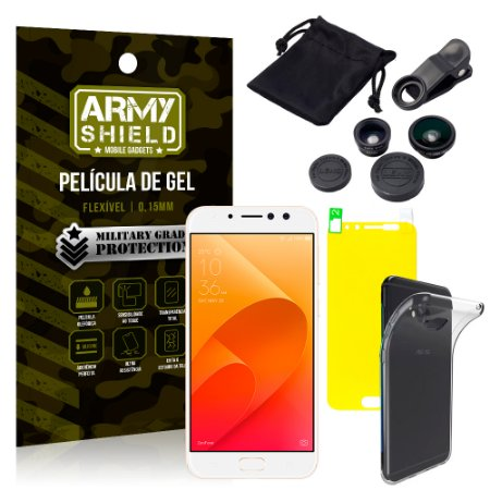 Kit Fisheye Asus Zenfone 4 Selfie Pro ZD552KL 5.5 Lentes + Película + Capa - Armyshield