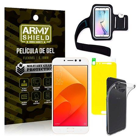 Kit Braçadeira Asus Zenfone 4 Selfie Pro ZD552KL 5.5 Braçadeira + Película + Capa - Armyshield