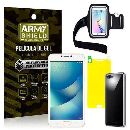 Kit Braçadeira Asus Zenfone 4 Max ZC554KL 5.5 Braçadeira + Película + Capa - Armyshield