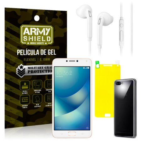 Kit Fone de Ouvido Asus Zenfone 4 Max ZC554KL 5.5 Fone + Película + Capa - Armyshield