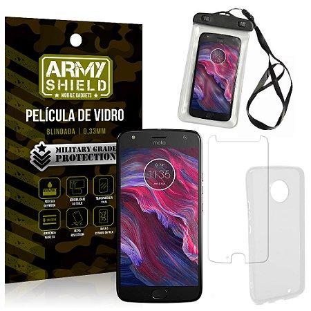 Kit Capa à Prova D'água Motorola Moto X4 XT1900 5.2 Prova Dágua + Película + Capa - Armyshield