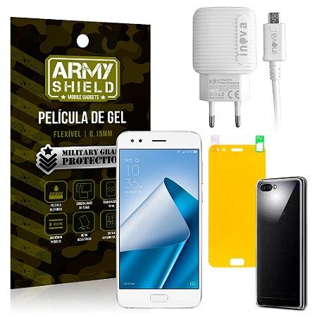 Kit Carregador Asus Zenfone 4 ZE554KL 5.5 Carregador + Película + Capa - Armyshield
